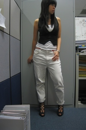 Topshop top - Mango vest - Armani Exchange belt - moms pants - GoJane shoes