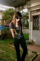 Jcrew t-shirt - Mango vest - Mango pants - Topshop necklace - forever 21 necklac
