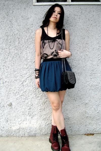 black random from Bangkok top - green Forever21 skirt - red doc martens shoes -