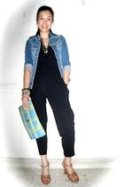 black Topshop - blue Mango jacket - brown Topshop shoes - random brand from Bang
