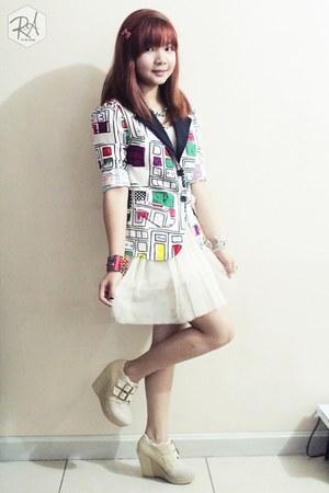 white cotton Fashion Market blazer - beige suede Moderno Sense boots