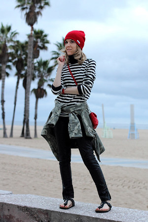 red neff hat - olive green Vila jacket - white Tommy Hilfiger sweater