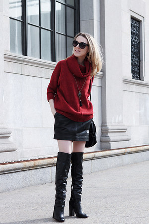 black Schutz boots - ruby red Tommy Hilfiger sweater - black eileen fisher bag