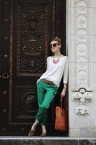 white Gap sweater - tan Ralph Lauren bag - green Gap pants