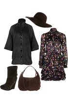 brown paul & joe dress - brown Just Cavalli hat - brown Abro bag