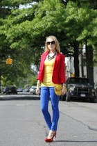 blue asos jeans - red asos blazer - yellow perlina new york bag