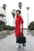 red Corey Lynn Calter coat - white Tyte Jeans jeans - navy asos hat