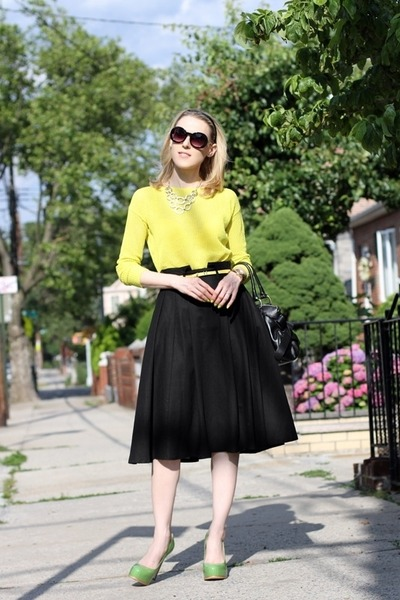 yellow madewell sweater - black asos skirt - lime green Pour La Victoire heels