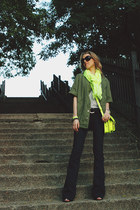 navy blank nyc jeans - olive green Mural jacket - lime green Gap scarf