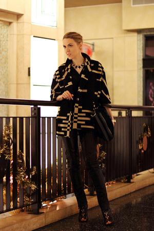 black Pendleton coat - black BCBGMAXAZRIA bag - black Lemon Tart blouse