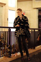 black Pendleton coat - black BCBGMAXAZRIA bag - black Lemon Tart blouse