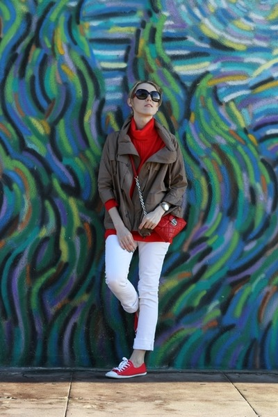 red XOXO sweater - white Tyte Jeans jeans - tan DKNY jacket