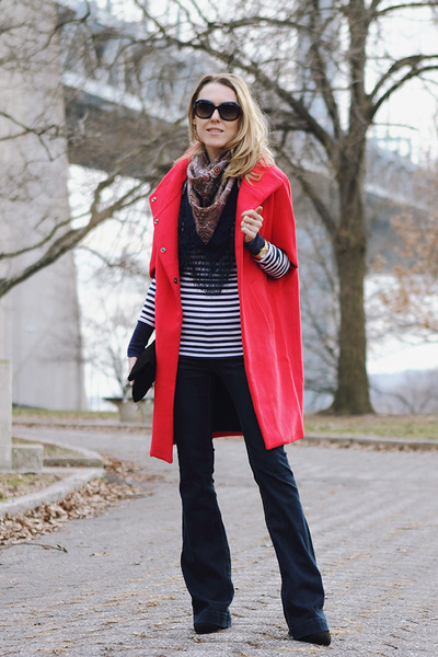 red Corey Lynn Calter coat - navy blank nyc jeans - black eileen fisher bag