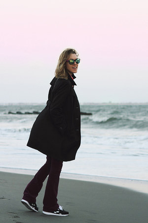black DKNY coat - magenta Gap pants - black Reebok sneakers