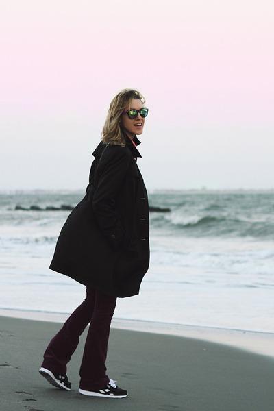 black DKNY coat - magenta Gap pants - black Reebok sneakers