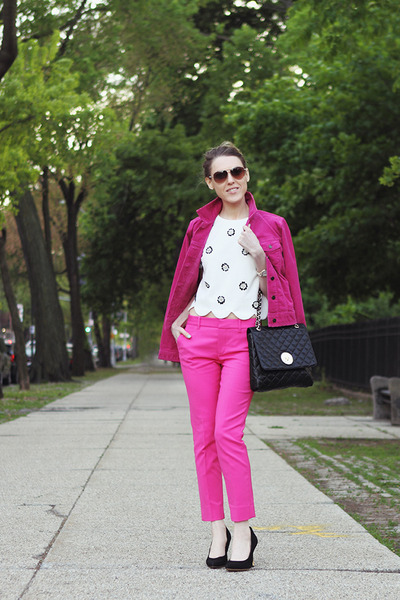 black DKNY bag - hot pink Gap jacket - white Marc by Marc Jacobs sunglasses