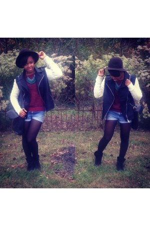 studded Forever 21 boots - floppy hat Gap hat - leather Forever 21 jacket