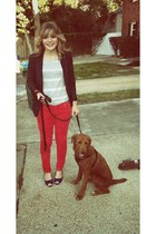 red Target pants - black Forever 21 blazer - heather gray American Eagle shirt