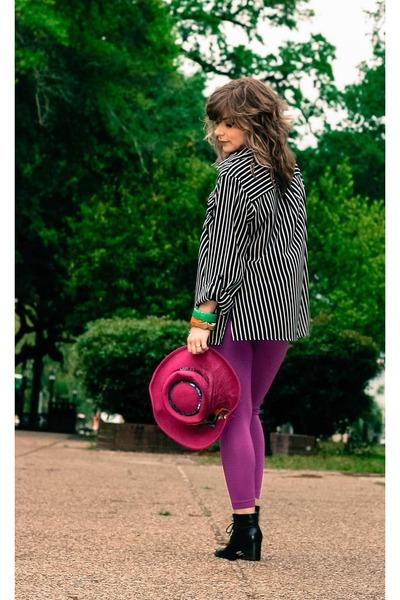 magenta Prima Donna hat - black vintage boots - magenta Prima Donna leggings