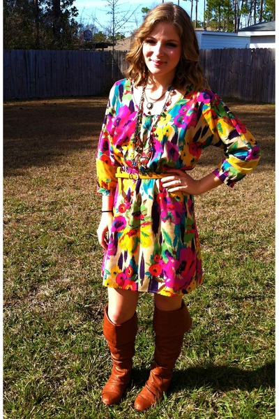 tawny Charlotte Russe boots - magenta Forever 21 dress - mustard Forever 21 belt