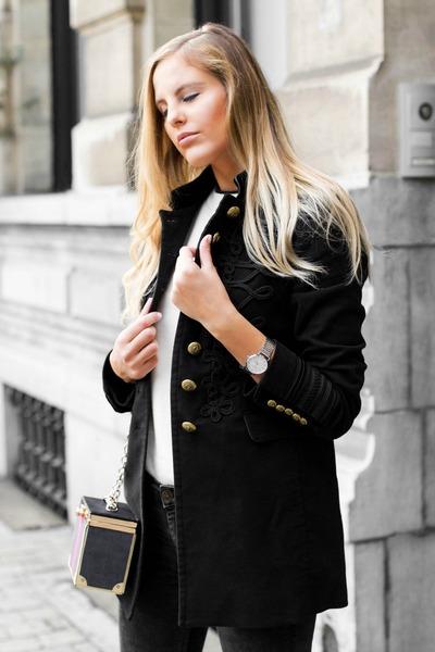black skinny jeans Zara jeans - black military jacket Zara jacket