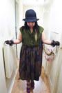 Black-felt-h-m-hat-black-lace-nylon-random-gloves-army-green-viscose-selfmad