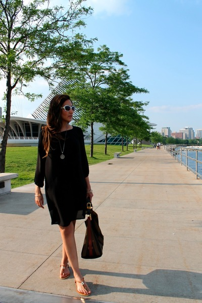 black H&M dress - dark brown Fendi bag - white David Yurman sunglasses