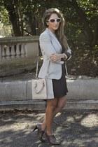 gray Zara boots - charcoal gray H&M dress - heather gray Zara blazer