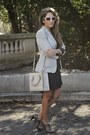 gray Zara boots - charcoal gray H&M dress - heather gray Zara blazer