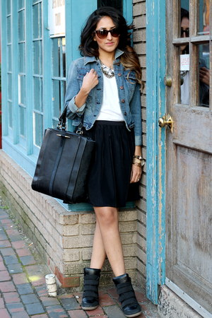 black Zara bag - black Nordstrom skirt - silver J Crew necklace