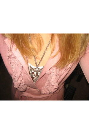 pink lace Self Esteem coat - silver im not sure necklace - Forever 21 top