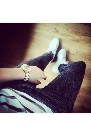white nike shoes - charcoal gray H&M pants - River Island watch