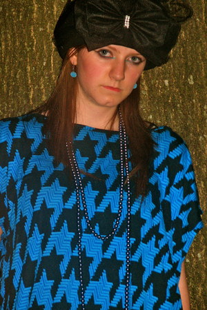 black vintage Chanel hat - blue Michael Kors shirt - sky blue handmade earrings