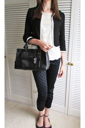 black H&M blazer - black Celine bag - navy Primark pants