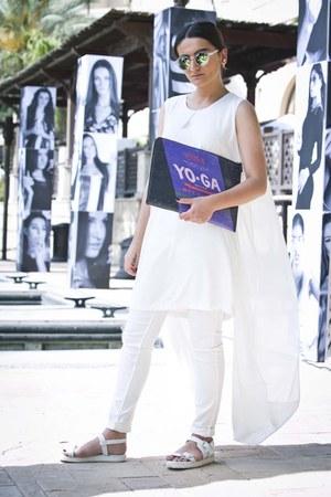 white Zara shoes - white Monroe and me dress - deep purple Raf Simons bag
