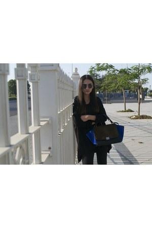 blue Celine bag - black Zara boots - black H&M top