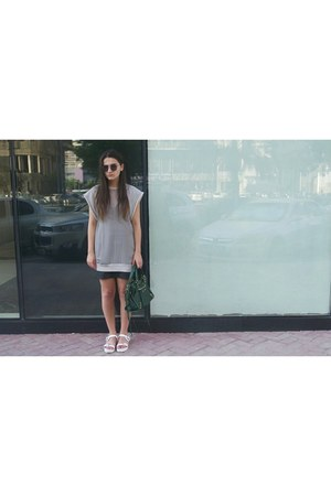 white Zara shoes - silver Alexander Wang shirt - green balenciaga bag
