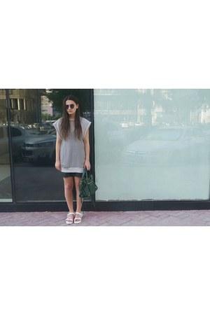 white Zara shoes - silver Alexander Wang shirt - green balenciaga bag
