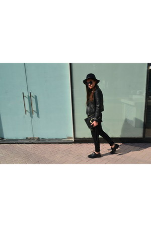 black Givenchy bag - navy Zara hat - black H&M jacket