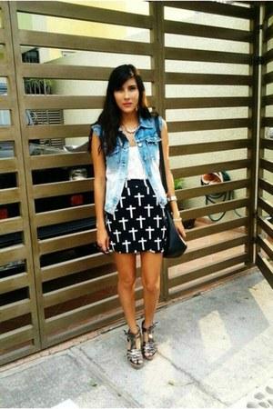 Mosma Moda skirt - Todo Moda bag - c&a wedges - hot pink Marmota bazar vest