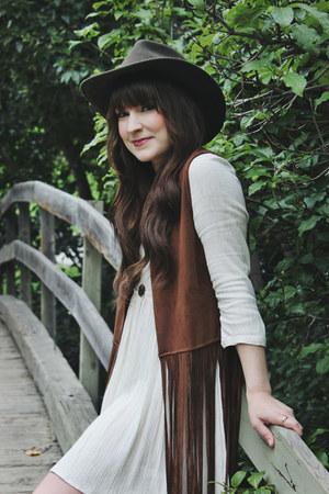 brown fringe Steve Madden vest - ivory baby doll Urban Outfitters dress