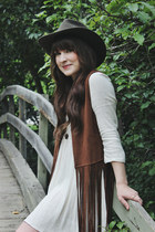 brown fringe Steve Madden vest - ivory baby doll Urban Outfitters dress
