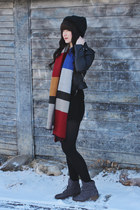 blue scarf Sheinsidecom scarf - black leather jacket H&M jacket