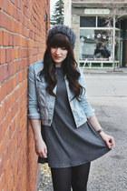 light blue denim jacket Zara jacket - black ankle boots Hibou boots