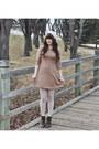 Dark-brown-lace-up-boots-hibou-boots-camel-skater-sunday-best-dress