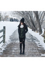 Black-ankle-boots-hibou-boots-black-wool-hibou-hat