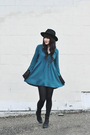 black wide brim brixton hat - turquoise blue skater Forever 21 dress