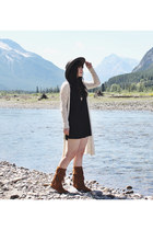 brown fringe Minnetonka boots - black dress everly dress