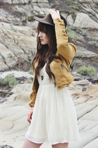 mustard jacket free people jacket - brown ankle boots Steve Madden boots