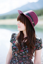 magenta goorin bros hat - black floral print Urban Outfitters dress